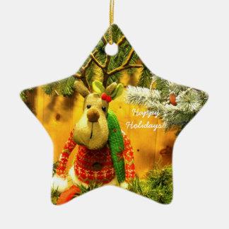 """""""Holzklotz-"""" glückliche Keramik Ornament"""