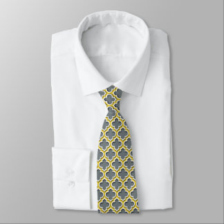 Holzkohlen-Ananas-weißer Marokkaner Quatrefoil Krawatte