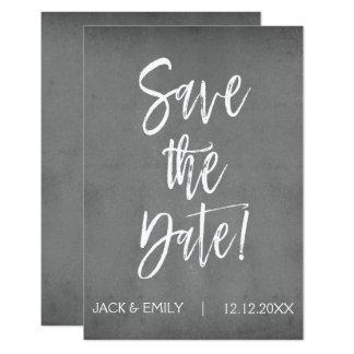 Holzkohlen-Grau-Save the Date Karte