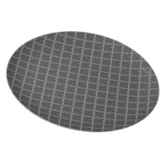 Holzkohlen-Krawatten-(graues) Muster Flacher Teller