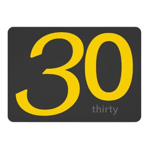 ... Holzkohlen Und Gelb Gewohnheits 30. Geburtstag Einladung ...