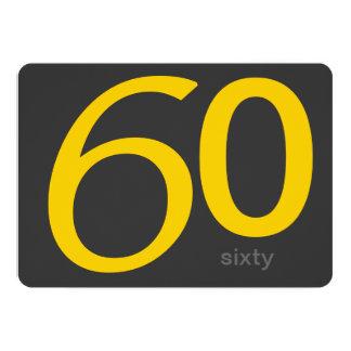 Holzkohlen-und Gelb-Gewohnheits-60. Geburtstag 12,7 X 17,8 Cm Einladungskarte