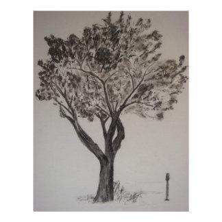 Holzkohlen-Zeichnen eines Straßen-Baums Flyer