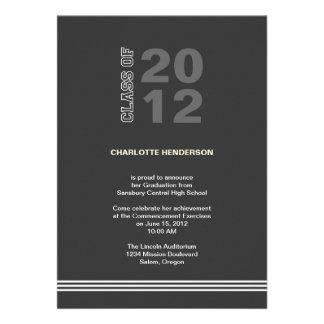 Holzkohlensportstreifen-Abschluss-Klasseneinladung Ankündigungskarten