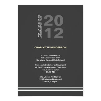 Holzkohlensportstreifen-Abschluss-Klasseneinladung 12,7 X 17,8 Cm Einladungskarte