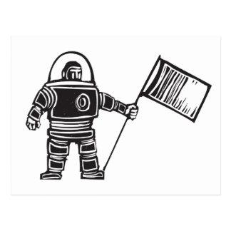 Holzschnitt-Astronaut mit Flagge Postkarte