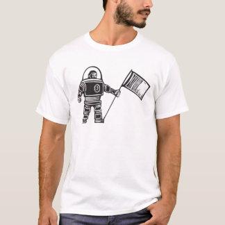 Holzschnitt-Astronaut mit Flagge T-Shirt