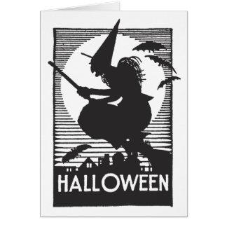 Holzschnitt-Halloween-Hexe Karte