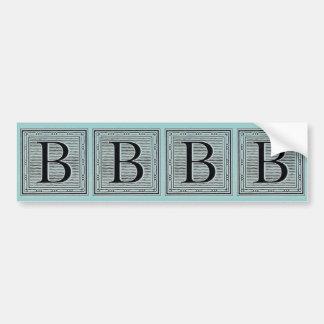 "Holzschnitt Woodblock Initiale der Holztype-""B"" Autoaufkleber"