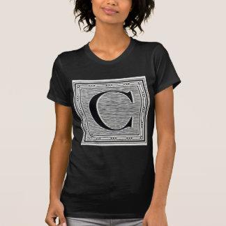 """Holzschnitt Woodblock Initiale der Holztype-""""C"""" T-Shirt"""