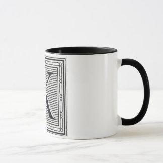 "Holzschnitt Woodblock Initiale der Holztype-""K"" Tasse"