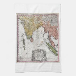Homann Erbkarte 1748 von Indien und von Geschirrtuch