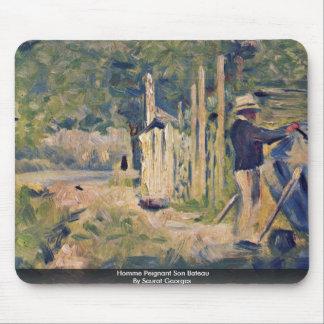 Homme Peignant SohnBateau durch Seurat Georges Mauspads