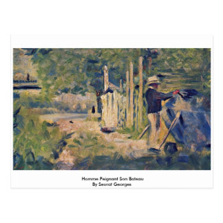 Homme Peignant SohnBateau durch Seurat Georges Postkarte