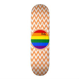 Homosexuelle Flagge Orange und weißes Zickzack Skateboard Deck