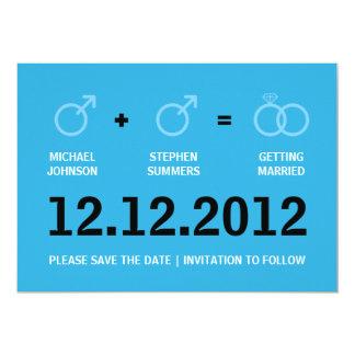 Homosexuelle Heirat-Save the Date männliche 12,7 X 17,8 Cm Einladungskarte