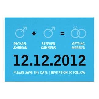 Homosexuelle Heirat-Save the Date Mitteilung Individuelle Ankündigungskarte