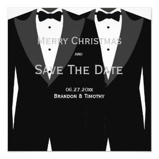 Homosexuelle Hochzeits-Silber-Save the Date Quadratische 13,3 Cm Einladungskarte