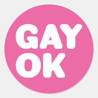 HOMOSEXUELLE OKAY große mutige Buchstabe-Aussage Runder Aufkleber