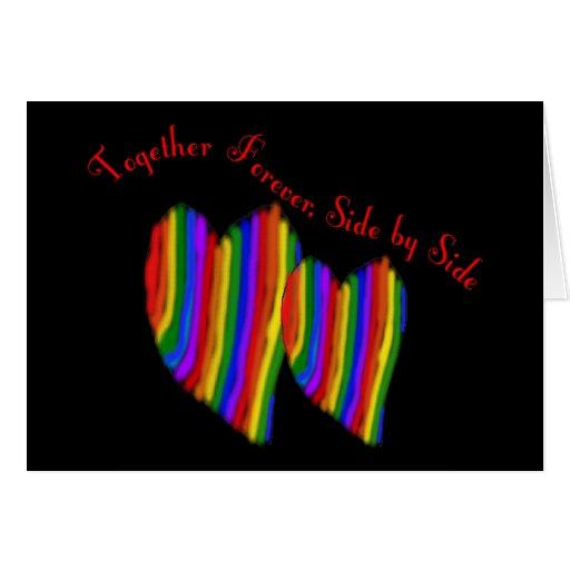 Homosexuelle Regenbogen-Herzen ZUSAMMEN VERSEHEN F Karte