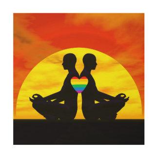 Homosexuelle Yoga-Liebe - 3D übertragen Holzwanddeko