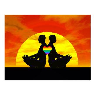 Homosexuelle Yoga-Liebe - 3D übertragen Postkarte