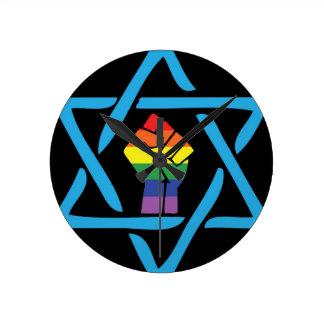 Homosexuelles schwarzes jüdisches runde wanduhr