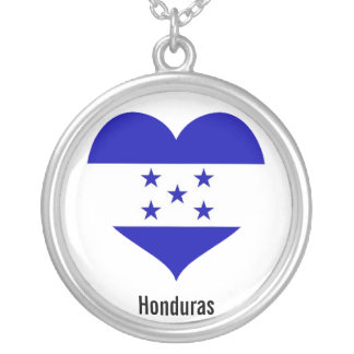 Honduras-Herzhalskette Versilberte Kette