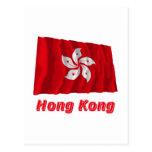Hong Kong, das Flagge mit Namen wellenartig bewegt Postkarten