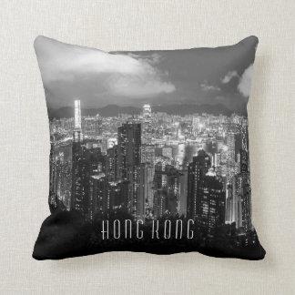 Hong Kong-Nachtansicht-Schwarzes u. Weiß Kissen