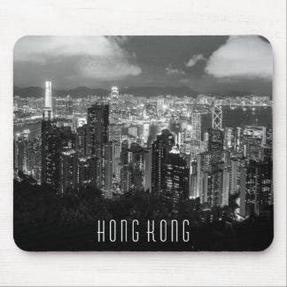 Hong Kong-Nachtansicht-Schwarzes u. Weiß Mousepads