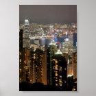 Hong Kong-NachtSkyline von Victoria-Spitze Poster