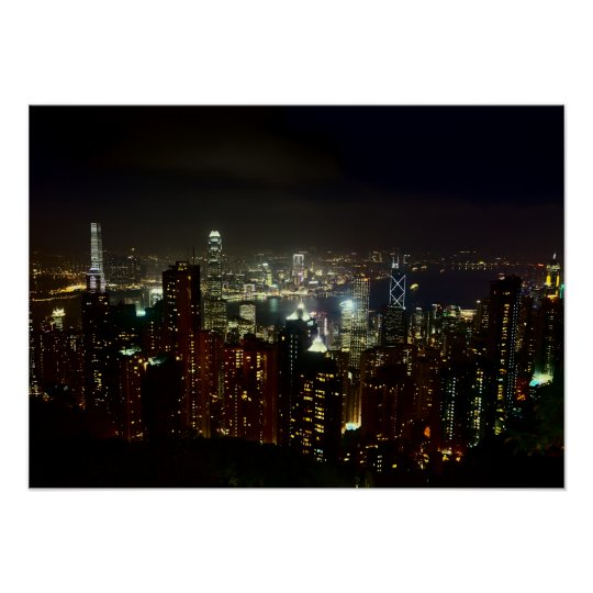 Hong Kong Peak Night Poster
