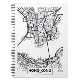 Hong Kong, Schwarzweiss-Stadt-Karte der China-| Spiral Notizblock