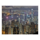 Hong Kong-Skyline am Nachtplakat Poster