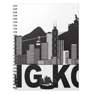 Hong Kong-Skyline-Buddha-Statue-Text Notizblock