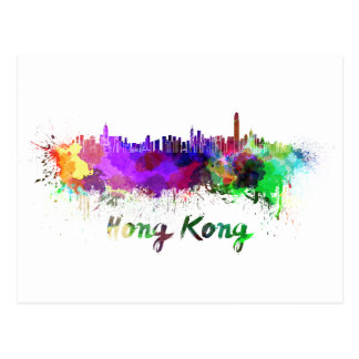 Hongkong skyline im Watercolor Postkarte