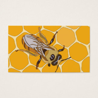 Honig-Biene auf Bienenwabe Visitenkarte