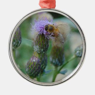 Honig-Biene auf Disteln Rundes Silberfarbenes Ornament