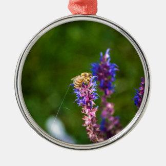 Honig-Biene Rundes Silberfarbenes Ornament