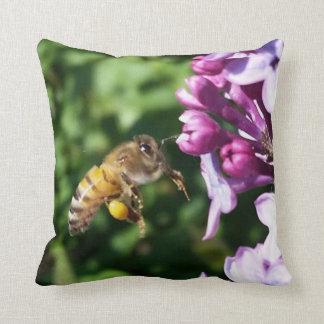 Honig-Bienen-Landung auf Fliedern für mehr Kissen
