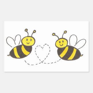 Honig-Bienen mit Herzen Aufkleber