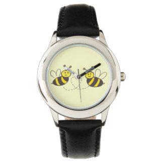 Honig-Bienen mit Herzen für Kinder Uhr