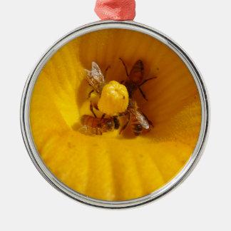 Honig-Bienen-Stau Rundes Silberfarbenes Ornament