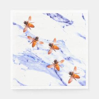 Honig-Bienen und blauer Marmor Papierservietten