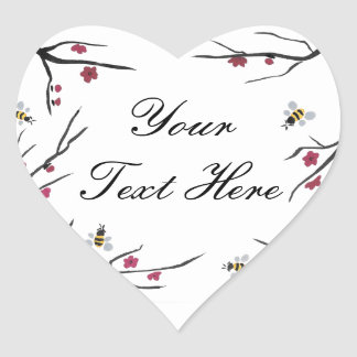 Honig-Bienen und Kirschblüten Herz-Aufkleber