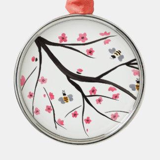 Honig-Bienen und Kirschblüten Rundes Silberfarbenes Ornament