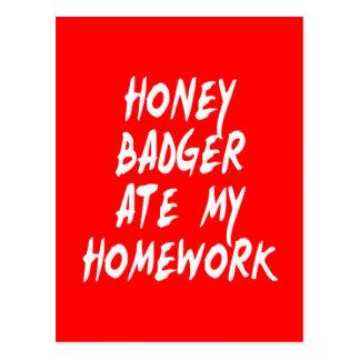 Honig-Dachs aß meine Hausaufgaben Postkarte