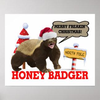 Honig-Dachs frohe Freakin Weihnachten Posterdruck