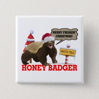 Honig-Dachs frohe Freakin Weihnachten Quadratischer Button 5,1 Cm